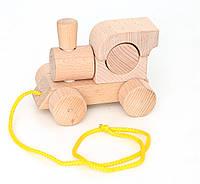 Конструктор из дерева Паровозик без шнурка, не крашеный Ду-01н Руди