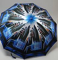 Женский зонт полуавтомат, черный с синим.