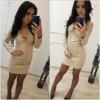 Кожаное платье со шнуровкой