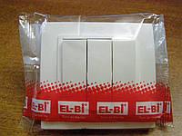 Выключатель тройной EL-BI, ZENA Белый