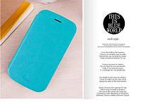 Кожаный чехол книжка MOFI для Huawei Ascend Y600-U20 DualSim голубой