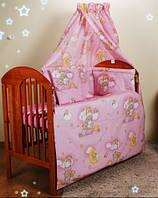 Защита (бортики) на детскую кроватку- розовые мишки на лестнице