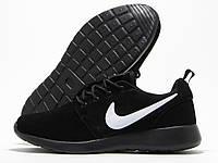 Кроссовки женские Nike Roshe Run черные с черной подошвой (найк роше ран)