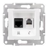 Розетка Schneider-Electric Sedna Телефонная+комп. UTP кат. 5е белая ( SDN5100121)