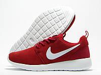 Кроссовки женские Nike Roshe Run красные с белым значком (найк роше ран)