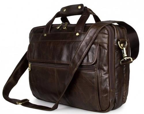 """Винтажный портфель мужской кожаный для ноутбука 15,6"""" Laptop Brown S.J.D. 7146Q"""