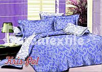 """Комплект постельного белья полуторный, поплин """"Орнамент голубой с белым"""""""