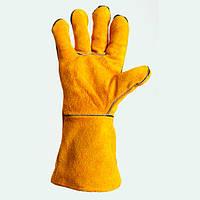 Перчатки рабочие Doloni спилок (жёлтые с подкладкой)