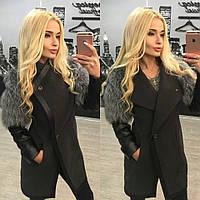 """Эксклюзивное кашемировое женское пальто """"С рукавами из натуральной чернобурки"""" 42-60р"""
