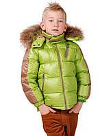 Snowimage Куртка для хлопчика р98,110 салатовий/бежевий пух/хутро