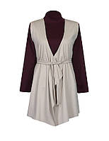 Комплект женской одежды для офиса - водолазка в обтяжку и прямой кардиган