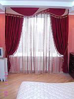 Шторы  спальни с ламбрикенами