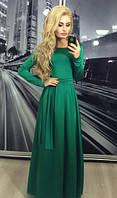 Платье вечернее, длинное, зелёное