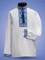 Рубашка для мальчиков с голубой вышивкой