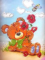 Картина из пайеток Мишка+цветы