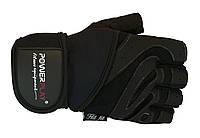 Комбинированные перчатки для бодибилдинга. Черный