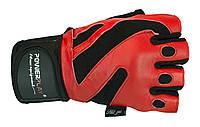 Перчатки для фитнеса и бодибилдинга из кожи. Красный