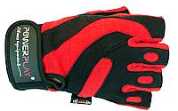 Мужские, кожаные перчатки без пальцев для фитнеса. Красный