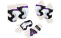 Защита спорт. наколенники, налокот., перчатки для взрослых ZEL GRACE (р-р M, L, фиолетовая)