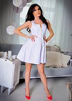 Стильное короткое женское платье с пышной юбкой на молнии без рукавов коттон мемори