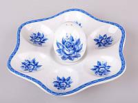 """Тарелка для яиц с солонкой """"Синяя роза"""" 18х16х10 см."""