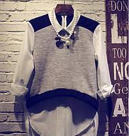 Женская красивая хлопковая рубашка с трикотажем