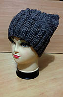 """Вязанная шапка """"Cat"""" серого цвета с ушками"""