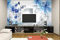 """Оригинальные 3D фотообои """"Обьёмные синие цветы с бабочками"""""""