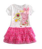 Платье на девочку с коротким рукавом белое с розовой юбкой