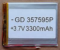Литиевый элемент питания 3,7V 357595 (размер 35х75х95mm)  3300mAh