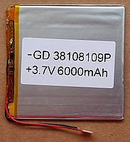 Литиевый элемент 38108109  питания 3,7V (фактический размер 38х97х100mm)  6000mAh