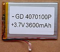 Литиевый элемент питания 4070100 3,7V (фактический размер 40х65х98mm)  3600mAh