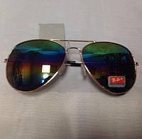 Солнцезащитные очки капли в золотистой оправе с цветными зеркальными стеклами