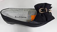Туфли черные с бантом для девочек. ТМ B&G. Размер 34