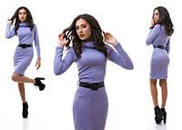 Платье сиреневое из трикотажа, рефленного косичками+ ремень в комплекте. Арт-1024