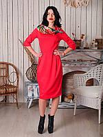 Красивое офисное женское платье со складками