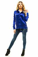 Женская атласная блуза с удлиненным задом Размеры: 42, 44, 46