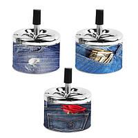 Пепельница 0209901 металл/джинс, 3 дизайна, д=9 см