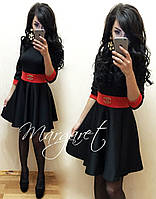 Оригинальное черное платье с красным поясом и манжетами