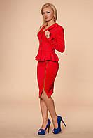 Костюм деловой пиджак и юбка, с баской, на юбке молния, нарядный и оригинальный 42