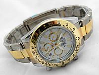 Мужские часы Rolex Daytona двуцветные, циферблат белый