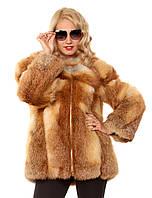 Женская шуба из меха лисы с отстегивающимся рукавом