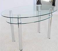 Обеденный овальный стол из стекла