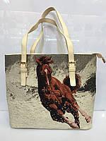 Женская сумка классическая Meyzi 697 из кожзама бежевая с принтом Турция