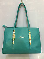 Женская классическая сумка Meyzi 629 из кожзама бирюзовая  Турция
