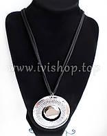 Черный шнур на шею с круглой подвеской под серебро