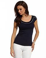 Женская летняя блуза из вискозы с коротким рукавом темно-синего цвета. Модель 210002 Enny, весна-лето 2016.