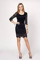 Эффектное нарядное черное платье гипюр р.44-50 V220