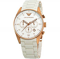 Мужские часы Emporio Armani White браслет и циферблат белый корпус под золото