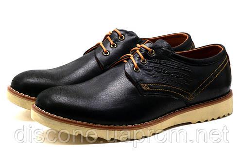Туфли мужские спортивные Levi's Desert, натуральная кожа, черные, р. 40 41 44